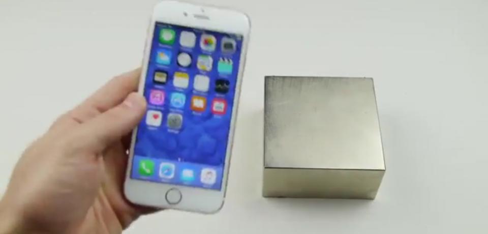 تست ضربه iphone ۶s با آهنربا