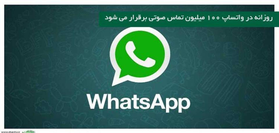 روزانه در واتساپ ۱۰۰ میلیون تماس صوتی برقرار می شود